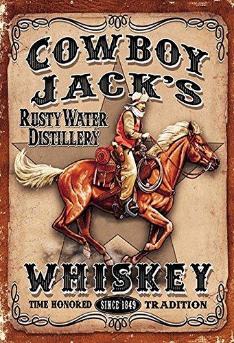 Metalen bord 20x30cm Cowboy Jacks Rusty Water Distillary Whiskey Schild Tin Sign