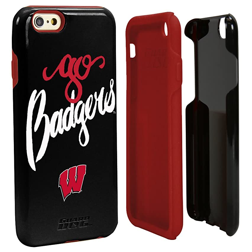 Guard Dog Wisconsin Badgers - Go Badgers Hybrid Case for iPhone 6/6s Black with Guard Glass Screen Protector