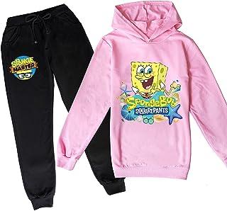 ZKDT Spongebob - Sudadera con capucha y pantalón de chándal para niños de 3 a 14 años