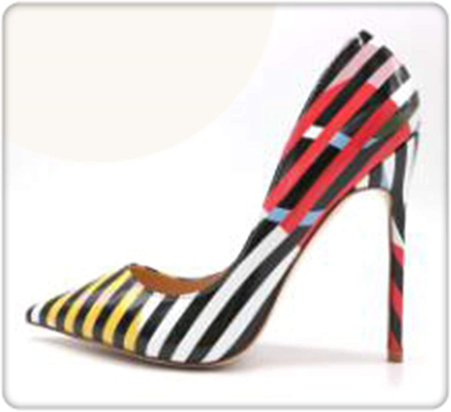 BIONGTY& Stripe with Yellow Pink Circle Patent Leather Pointed Toe 12cm high Heel Pump