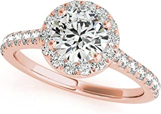 3/4 Carat Halo Engagement Diamond Ring Crafted In 14k Solid White, Rose & Yellow Gold