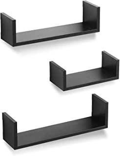 Americanflat Black Floating Shelves - Wall Mounted - Set of 3 - Display Ledge for Bedroom, Bathroom, Living Room, Kitchen, and Office