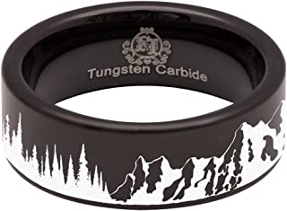 Tungsten Carbide Trees and Mountain Scenery Ring 8mm Wedding Band Anniversary Ring for Men and Women