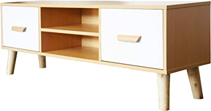 Mahmayi H301 Modern Multifunctional TV Table Stand, Storage Unit with Two Drawers and Storage Shelves - Beech and white Me...
