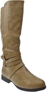 Game 3 Womens Strappy Buckle Riding Boots Khaki