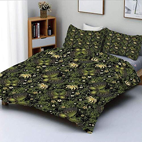 Bettbezug-Set, Frühling inspirierte Ornamente Schmetterlinge Kleine Blüten Wirbelnde Blätter VintageDecorative 3-teiliges Bettwäscheset mit 2 Kissen Sham, Gelb Schwarz Grün, K Easy