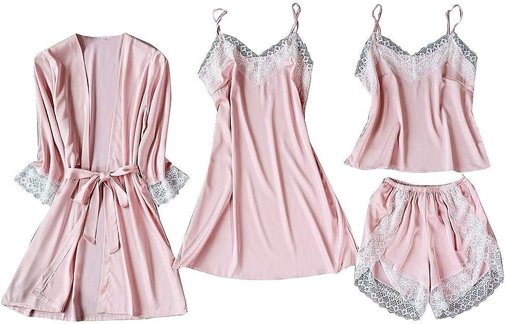 iQKA Satin Silk Pajamas Sets, Cardigan Bathrobe Nightdress Camisoles Short 4Pcs Sets Comfortable Sleepwear for Ladies