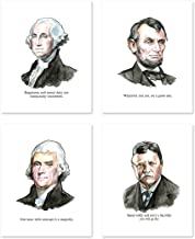 A23 Motivational Posters and Quotes - Set of 4. George Washington - Thomas Jefferson - Theodore Roosevelt - Abraham Lincoln Wall Art Decor - Office Home - Rushmore Mount President Prints(8x10)