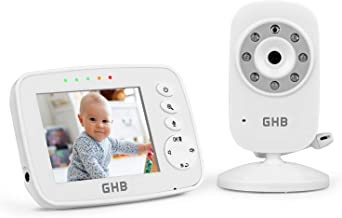 GHB Baby Monitor Baby Video Monitor 3.2 Inch 2x Digital Zoom with Night Vision Two Way Talk Temperature Sensor ECO Mode Bu...