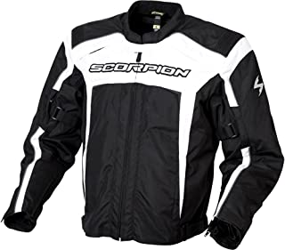 Scorpion Helix Men's Textile Sports Bike Racing Motorcycle Jacket - Black/White / 2X-Large