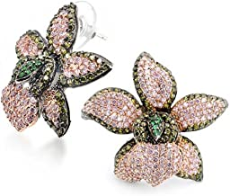 3D Green Pink Orchid Flower Shaped Pave CZ Large Stud Earrings For Women Cubic Zirconia Silver Plated Brass