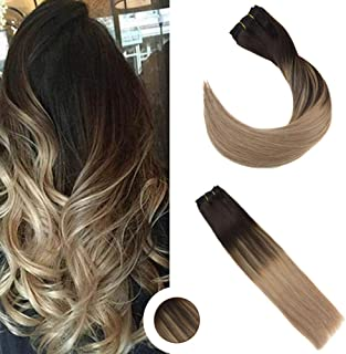 Ugeat 18 Inch Balayage Real Human Hair Clip in Extensions 120gram 10PCS #2 Darkest Brown Fading to #18 Ash Blonde Clip in Thick Hair Extensions