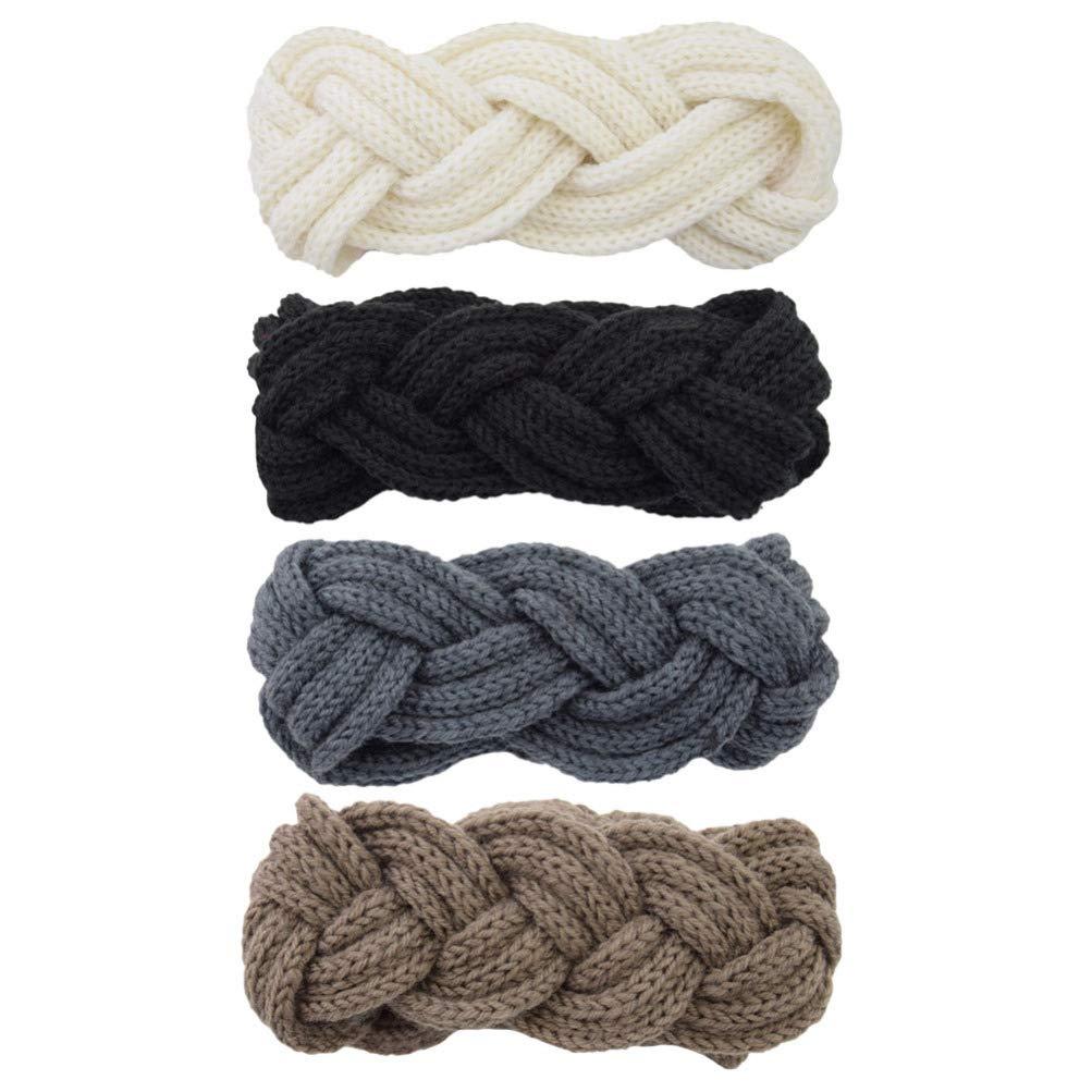 LEORX Braid Knitted Headband 4pcs Chunky Twist Head Warp Stylish Winter Ear Warmer Headband for Women