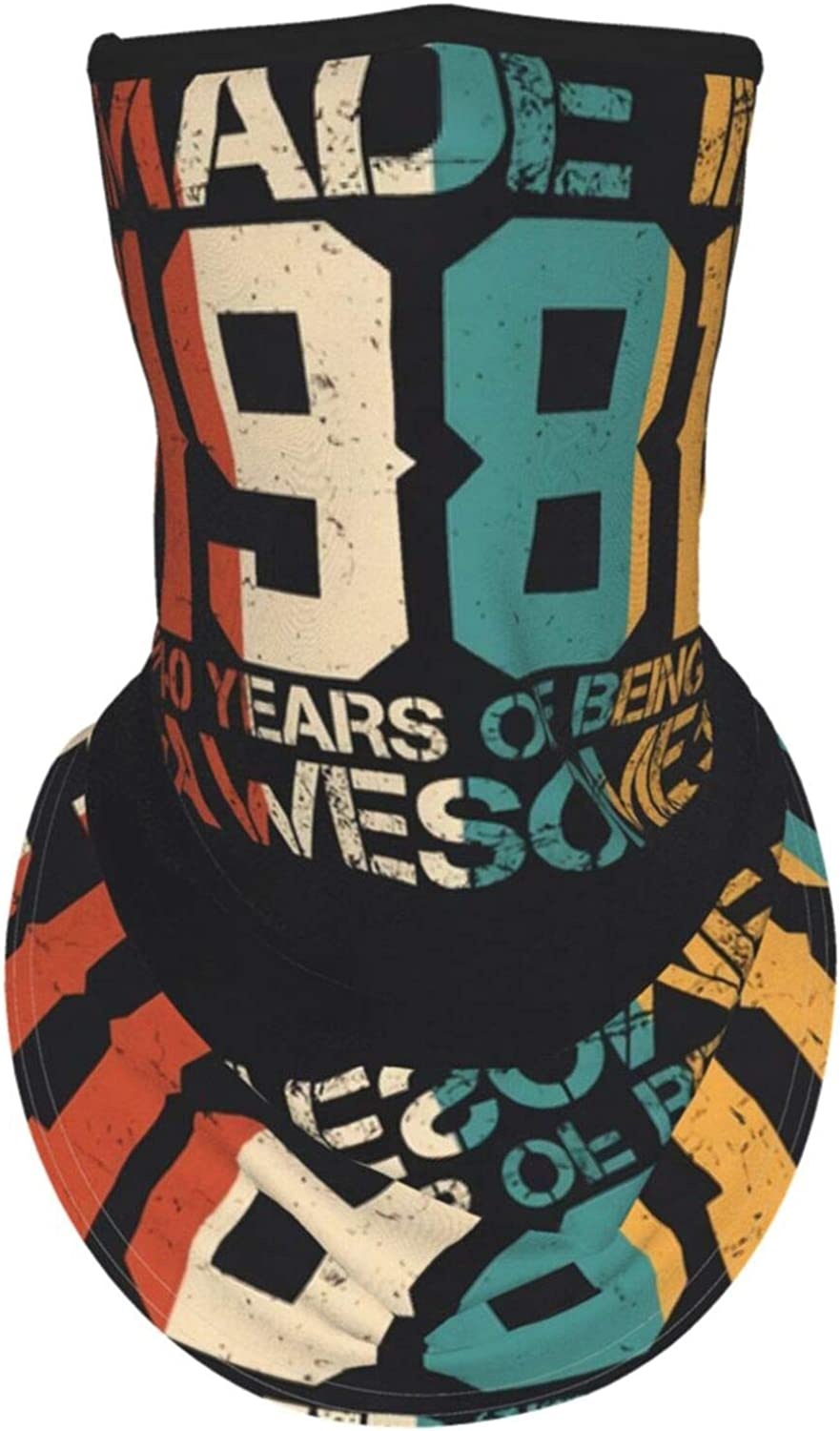 Ear Hangers Face Balaclava Made In 1981 Retro 40 Years Of Being Awesome Birthday Black Protective Cover Wristband Bandanas Neck Gaiter Dust-Proof,Anti-Pungent Gas,Washable