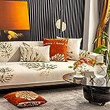 Funda de sofá de Esquina,Fundas de Asiento de sofá de Tela para Sala de Estar,Funda Protectora de Muebles,Alfombrilla para sofá de Jacquard Monstera,para Primavera,Beige_Los 70×70cm