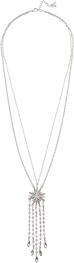 Starburst Pendant on Double Chain with Chain Fringe Necklace