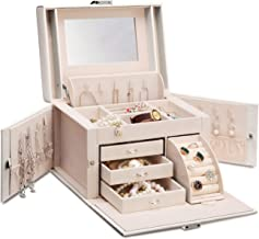 Vlando Faux Leather Jewelry Box Organizer, 6 Colors Available, Vintage Gift Case (White) (Renewed)