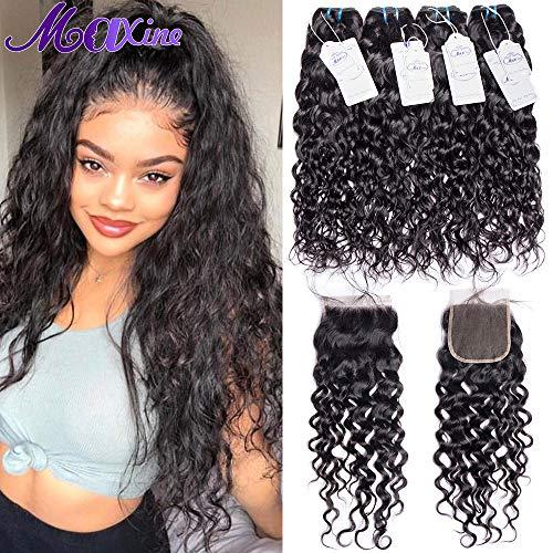 Maxine Brazilian Water Wave 4 Bundles with Closure Virgin Human Hair Bundles with Closure Wet and Wavy bundles with Lace Closure Hair Extension for Black Women(12 14 16 18+12inch)