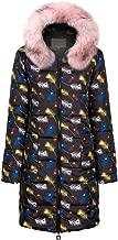 LHVUOA-Coat Womens Winter Cloak Print Long Down Cotton Ladies Hooded Coats Drawstring Jacket Outerwear
