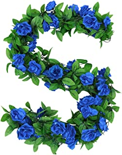 Scendeco Artificial Flowers 8 Feet/Piece Hanging Roses Vine Garland Silk Fake Roses Leaves Plants for Home Wedding Party Wall Kitchen Office Garden Craft Art Decor (4Pack,Blue)