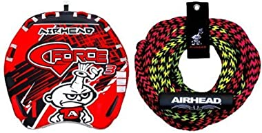 AIRHEAD AHGF-3 G-Force Inflatable Towable and AIRHEAD AHTR-22 Tube Rope 2 Section with Float, 2 Rider Bundle