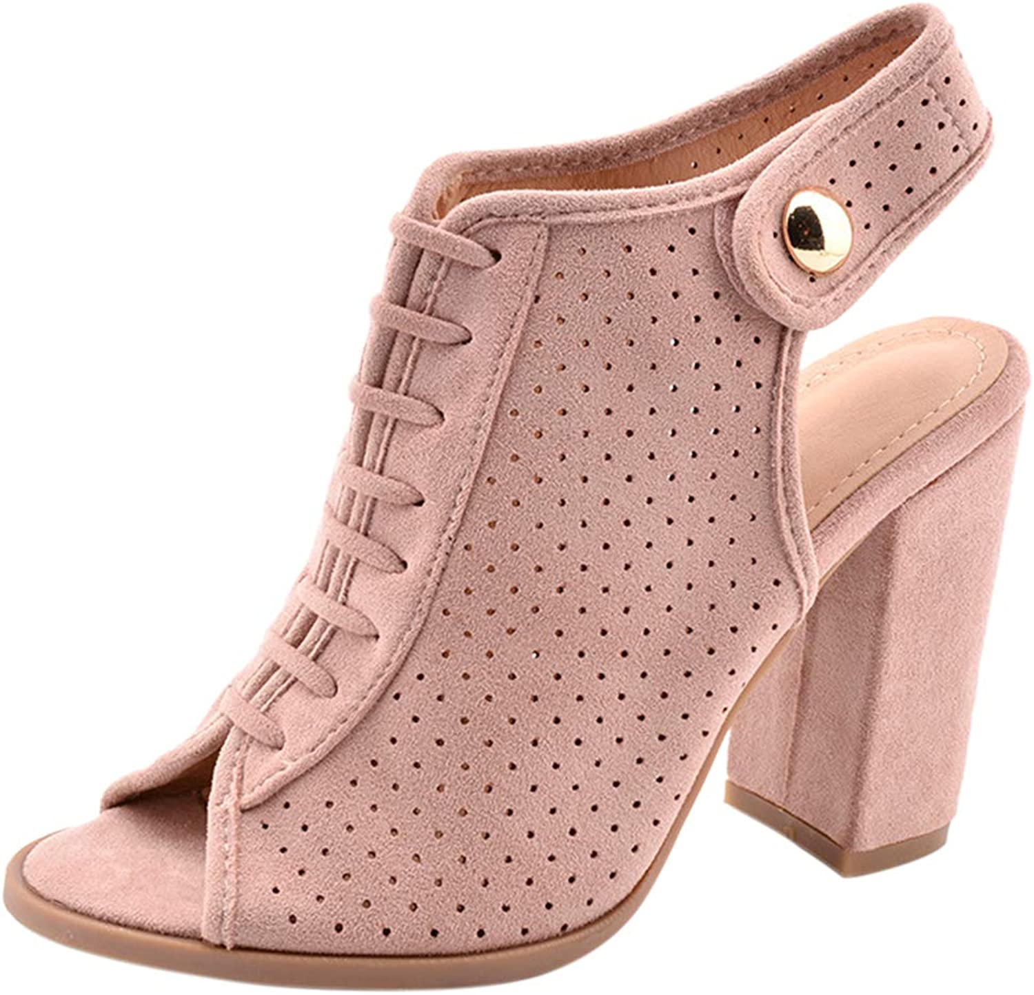 BIGTREE Womens Peep-Toe Chunky Block-Heeled Button Ankle-Bootie