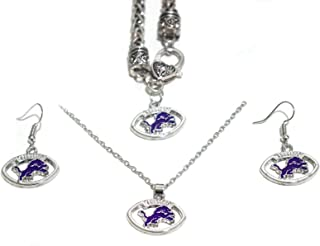 3PCS Jewelry Set for Rugby Fans, Including Bracelet, Necklace, Earrings, Gift Set