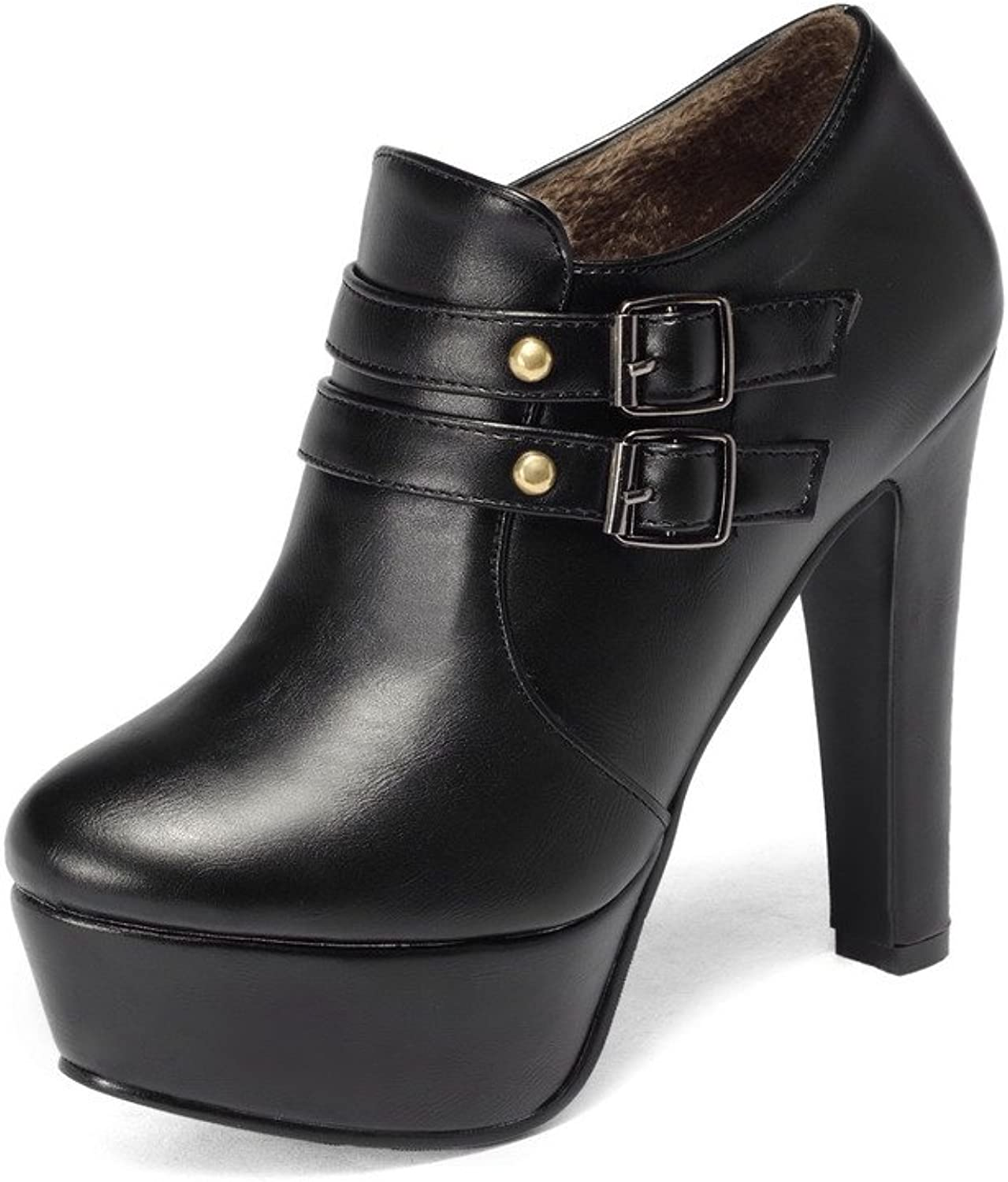 WeenFashion Women's Round Closed Toe Ankle High High Heels Solid Artificial Cow Leather Boots