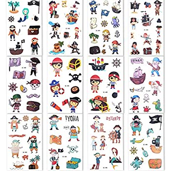 Konsait 107 Pcs Kids Tattoos Pirate Temporary Tattoos for Girls Boys Kids Party Bag Filler Children s Birthday Gift Pirate Party Supplies Favors