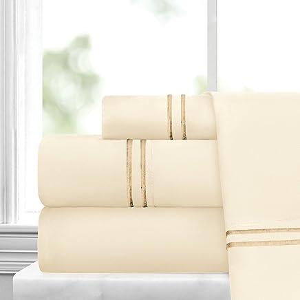 意大利奢华埃及奢华刺绣 4 件套床单套装 - 超柔软超细纤维带美丽刺绣 - 防皱不褪色,防*床单和枕套套装 奶油色/金色 - 条纹 Queen RG-ILEMBRDR2STRPSHT-Q-CRM/GLD