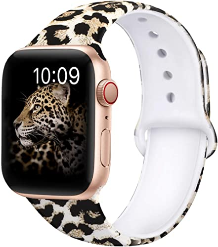 OriBear Compatible with Apple Watch Band 40mm 38mm 44mm 42mm Elegant Floral Bands for Women Soft Silicone Solid Patte...
