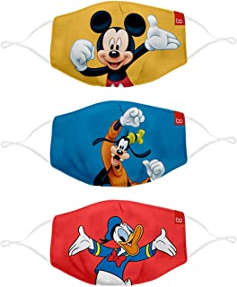 Bon Organik Unisex-Child Material: Front Layer Polyester Back : Anti Microbial 100% Cotton Mask (Pack of 3)