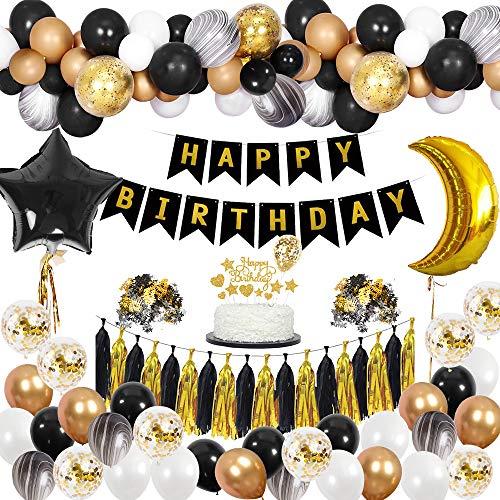 MMTX Decoraciones de Fiesta de Cumpleaños Negro Oro Hombres, Pancarta de Happy Birthday Globos de Latex de Confeti para Mujeres Adultos
