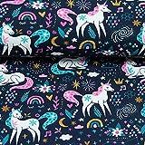 Doppelmoppel Jersey Stoff Einhorn Pferde dunkelblau | 18,90