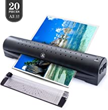 13 inches Laminator Machine, JIEZE A3 Laminator with 20 Laminating Pouches, Jam-Release Switch, Paper Cutter, Rapid 3 Minute, for Home and Office Use, Laminate for A3,A4,A5,A6, Black