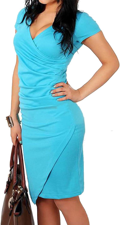 blue GRUN Women's Elegant Short Sleeve Deep V Neck Cocktail Party Bodycon Wear to Work Casual Pencil Dress