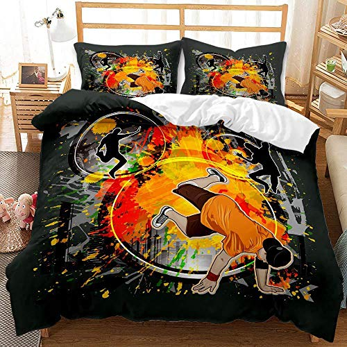 Juego de cama con funda nórdica de graffiti hip-hop en color 3D, cama individual para adultos y adolescentes con estampado de moda, ropa de cama doble, textiles para el hogar-D_200X230cm (3pcs)