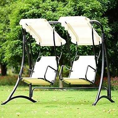 TANGKULA 2-Person Hammock Porch Swings Patio Outdoor Steel Frame Hanging Loveseat Canopy Glider Swing (Beige)
