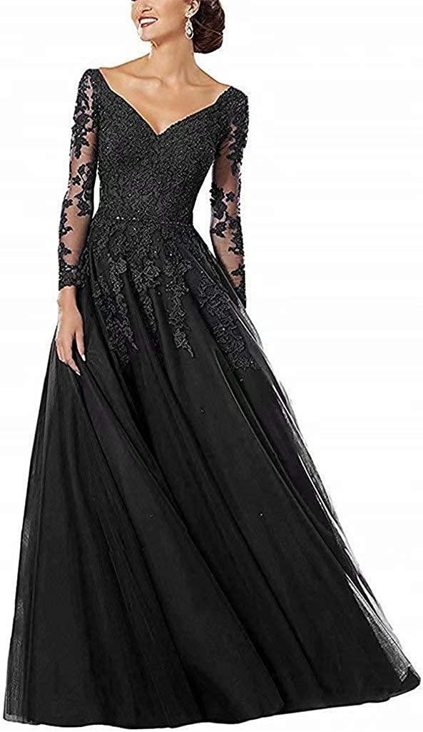 Lace Appliques Mother of The Bride Dresses Long Sleeves Tulle Formal Evening Gowns for Women