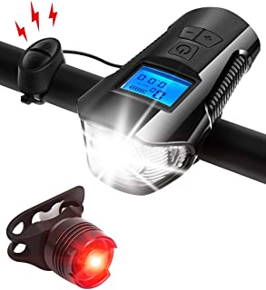 AIRSOFTPEAK Bike Light Set Bike Lights Front and Back Bicycle Speedometer Bike Light Odometer USB Rechargeable Bicycle Headlight & Free Taillight with Horn/Alarm Bell for Safe Cycling