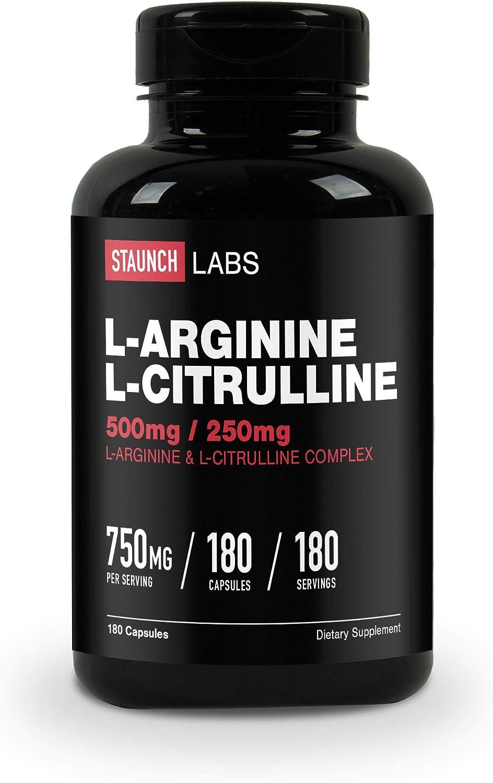 Staunch L-Arginine L-Citrulline 750mg Max 53% OFF 180 latest MG 500 2 Capsules -