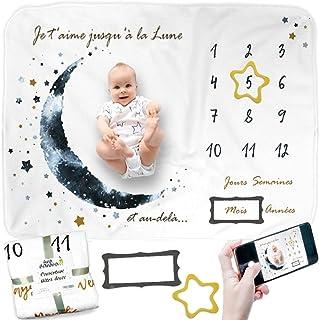 Couverture Etape Bébé FRANÇAIS, Couverture Photo Mensuelle, Tapis Mois Bébé, Cadeau Naissance Garçon, Cadeau Personnalisé,...