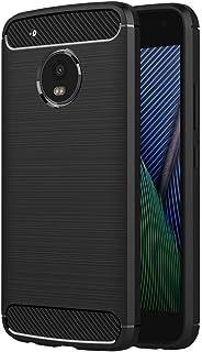 جراب لهاتف Motorola Moto G5 Plus (5. 2 بوصة) سيليكون ناعم فاخر مصقول مع غطاء حماية بتصميم من ألياف الكربون (أسود)