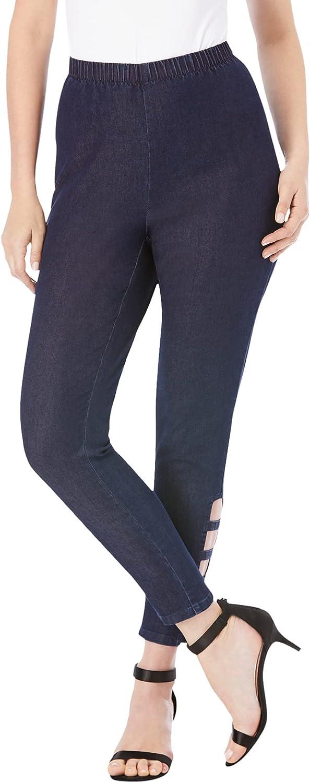 Roamans Women's Plus Size Lattice-Detailed Pull-On Stretch Jean