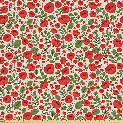 Ambesonne Poppy Flower Fabric by The Yard, Abstract Floral Arrangement Doodle Style Petals and Leaves Classic Retro, Stretch Knit Fabric for Clothing Sewing and Arts Crafts, 2 Yards, Beige Green