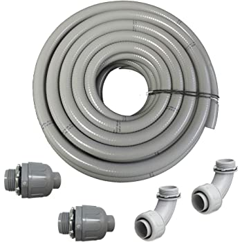 """(1 1/2"""" Dia x 25 ft) HydroMaxx Flexible PVC Non Metallic UL Liquid Tight Electrical Conduit Kit with 2 Straight and 2 Angle Fittings Included"""