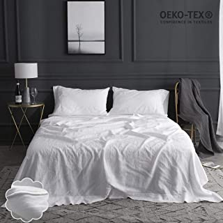 Simple&Opulence 100% Linen Sheet Set Embroidery(King,Embroidery White)