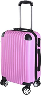 "Yescom 20"" Luggage Rolling ABS Hard Shell Lightweight Travel Suitcase 360 Degree 4 Wheels Lockable Trolley Pink"