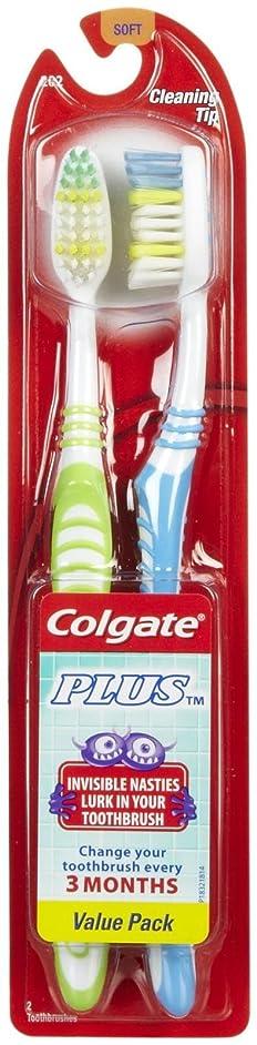 大統領可能にするページColgate プラス歯ブラシ、完全な頭部、ソフト - 2のCt - 2 Pkを