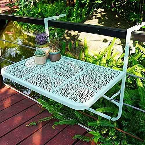 Mesa plegable balcón colgando mesa casero barandilla colgando bar tabla plegable flor soporte escritorio montaje en la pared pequeña mesa de té al aire libre espacio grande ( Color : Green )
